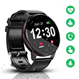 Smart Watch, IP68 impermeabile con schermo Full Touch Bluetooth smartwatch, tracker di fitness e attività, cardiofrequenzimetro, monitor del sonno, notifica contapassi per Android e iOS (nero)