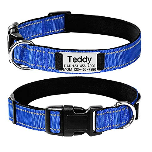 Oncpcare Personalized Dog Collar with Name Plate, No Noise Custom Engraved Pet ID Tags, Reflective Collars Training for Small Medium Large Dogs