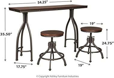 Signature Design by Ashley Odium Dining Table, 2 Stools, Gray