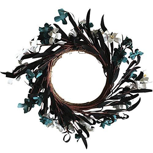 Goutui Guirnalda de crisantemo salvaje artificial hermosa corona adornos decoración de vacaciones para bodas al aire libre festivales