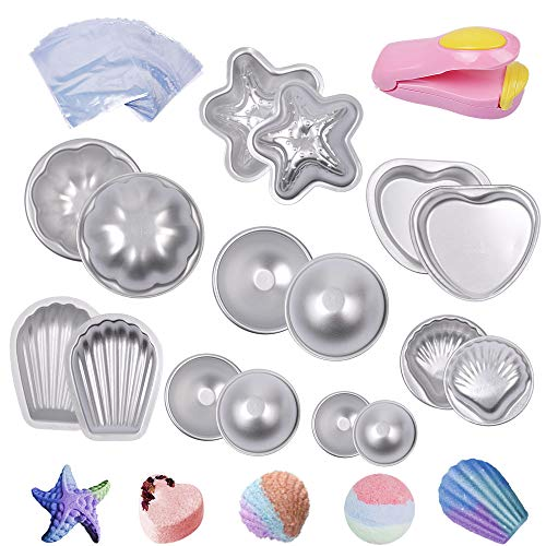 eZAKKA Bath Bomb Molds Metal DIY Bath Bomb Mould Fizzies Set with 200 Shrink Wrap Bags and 1 Mini Heat Sealer for Soaps, Fizzy Balls, 8 Sets 16 Pieces of Pack