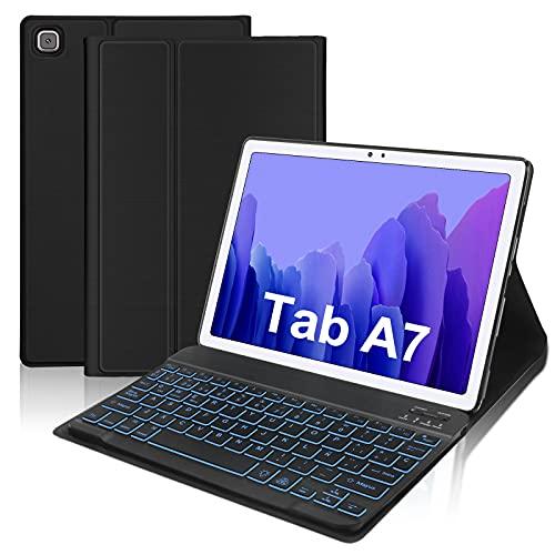 "Funda con Teclado Retroiluminado para Samsung Galaxy Tab A7 [10.4"",SM-T500 T505 T507]-FOGARI Funda Protectora con Teclado Desmontable con Retroiluminación de 7 Colores para Galaxy Tab A7 2020"
