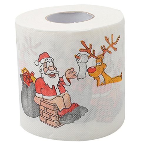 TraveT Home Household Supplies Colorful Santa + Reindeer Pattern Roll Toilet Paper, Toilet Roll Paper, Living Room Decor