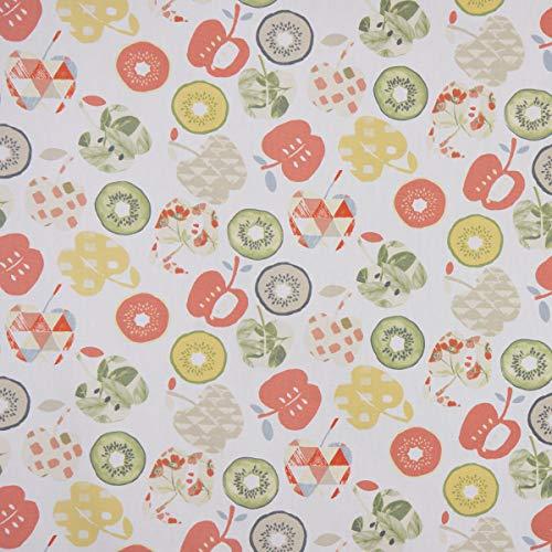 PT Dekostoff Baumwollstoff Bramley Apfel Kiwi weiß rot grün beige 1,37m Breite