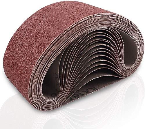 Schleifbänder, 75 mm x 457 mm Sanding Belts, Körnung 40/60/80/120/180/240/320, Bandschleifer für Holzbearbeitung und Metallpolieren, 21 Stück Aluminiumoxid-Schleifpapier