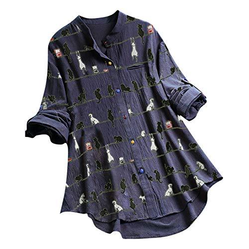 VEMOW Camiseta de Manga Ajustables Larga con Cuello Redondo y Estampado de Gato para Mujer Túnica Tops, Elegantes Moda Vintage Jacquard Botón Suelta Talla Grande Blusas Superior Camisas(A Armada,M)