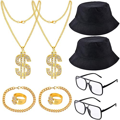 Yaromo 80s/ 90s Hip Hop Costume Kit, Rapper Accessories Hat, Sunglasses,Gold Rapper Chain and Ring with Dollar Sign Pendant, Bracelet