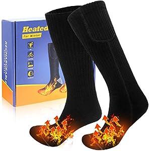 JBHOO 2020 Nuevo Calcetines Térmicos Eléctrico para Hombres, Mujeres, 3 Configuraciones de Calefacción, Calcetines Térmicos Recargables Invierno para Exteriores Interiores Acampar Esquí Talla única
