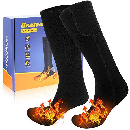 CoMokin Neu Beheizte Socken für Männer Frauen 3 Heizungseinstellungen Wiederaufladbare Elektrische Socken Winterwarme Baumwollsocken für Draussen Freien Angeln Motorradfahren Skifahren Freie Größe