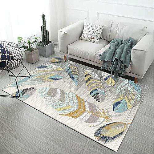 Kunsen Teppich klein Wohnzimmer-Kinderzimmer-Teppich-Feder-Muster Anti-Rutsch spielteppich Baby tepiche für Wohnzimmer 80x160cm 2ft 7.5' X5ft 3'