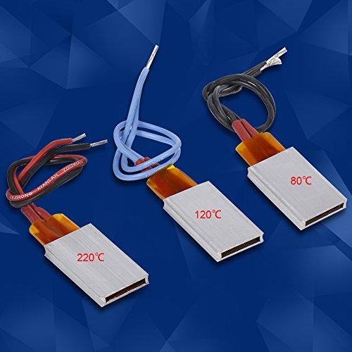 Filfeel PTC - Placa calefactora (3 unidades, CA/CC, 12 V, termostática, aluminio, cerámica, placa de calefacción, placa de temperatura constante)