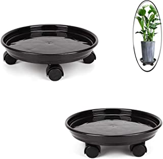 TiTa-Dong 2 Pack Plant Caddy, Round Potted Plant Stand on Wheels, Heavy Duty Flower Pot Rack on Rollers Dolly Trolley Saucer Tray Pallet with Universal Wheels for Indoor Outdoor Home Garden,11.8