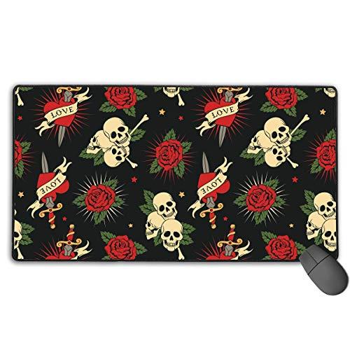 Zuckerschädel Blumen Blumen Mousepad Anti-Rutsch-Wasserbeständige Mausmatte Desktop-Laptop Tastatur Mauspad Gaming Mauspad 15,7 x 29,5 Zoll