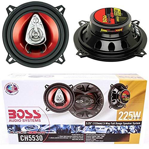 2 BOSS AUDIO SYSTEM CH5530 CH 5530 altoparlanti a 3 vie triassiali da 13,00 cm 130 mm 5' da 115 watt rms 225 watt max da predisposizione auto portiere e sportelli, a coppia