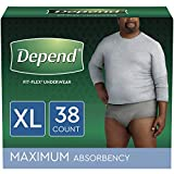 Depend FIT-FLEX Incontinence Underwear for Men, Maximum Absorbency, Disposable, XL, Grey, 38 Count