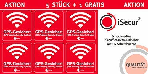 5 Stück Aufkleber Alarm, GPS, iSecur®, alarmgesichert, 40x40mm, Art. hin_388 außen, Hinweis auf GPS-Sicherung, außenklebend für Fensterscheiben, Auto, Motorrad, LKW, Baumaschinen