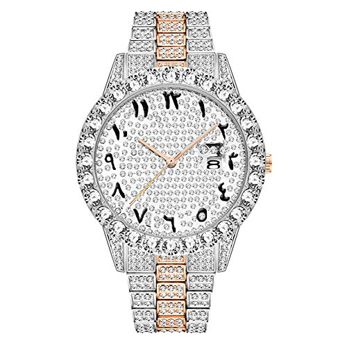 Junmei Herren Iced Out Uhr, Bling-ed Out Uhr Crystal Diamond Uhr Armband Armbanduhr in Silber/Gold/Roségold