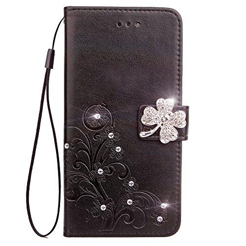 Lomogo Huawei Y5 2017/Y6 2017 Hülle Leder, Schutzhülle Brieftasche mit Kartenfach Klappbar Magnetisch Stoßfest Handyhülle Case für Huawei Y6 2017/Nova Young - LOSDA090910 Schwarz