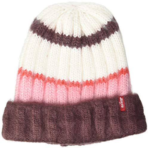 Levi's Damen Women's Striped Knit Beanie Ohrenschützer, Rosa, One Size