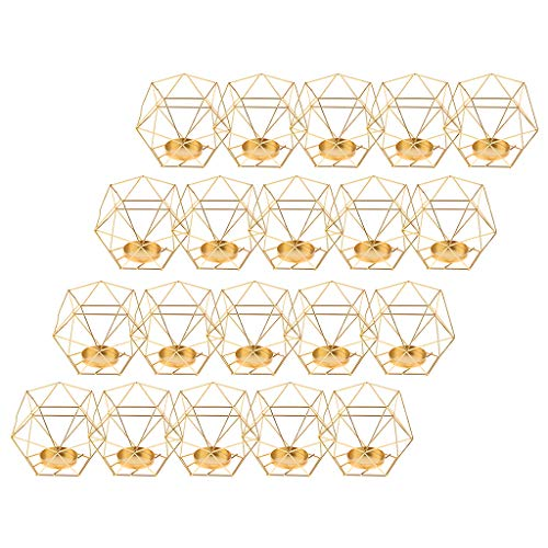 FLAMEER 20pcs Iron Wire 3D Geometric Candle Tealight Holder Candlestick Home Decor Party Supplies, Centerpieces for Wedding Christmas New Year Events