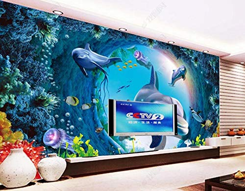 Wallpaper 3D Wall Murals Dolphin Anemone Underwater World Wallpaper Wall Mural Living Room Bedroom Tv Background Wall Mural Decoration Art 150cmx105cm