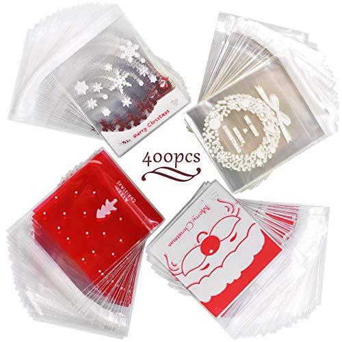 WENTS Selbstklebend Süßigkeiten Taschen Weihnachten Klare Cellophan Transparent Kekstüten Gebäcktüten Klebemittel Selbstklebend OPP Tütchen Kuchen Schokolade Süßigkeiten 400pcs