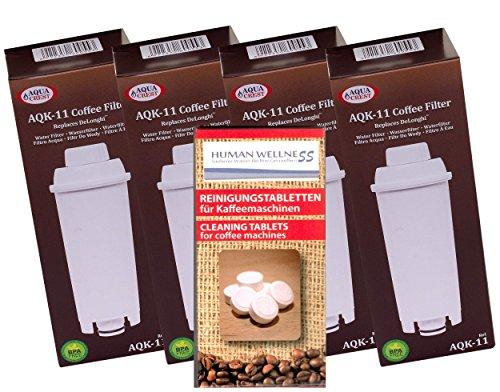 Lot de 4 cartouches de filtre AQK11 compatibles pour cafetières DeLonghi SER3017 DLS C002 + 10 pastilles de nettoyage