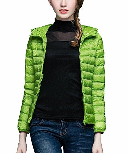 Minghe Pluma Abrigo para Mujer Capucha/Collar del Soporte Ligero Chaqueta de Corto Abajo de Invierno