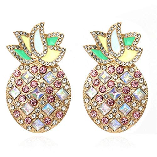 ZHENAO Ladies Handmade Earrings Personality Colorful Rhinestone Pine Earrings for Woman Party Casual Girl Fruit Earrings 7 Decorations / 5