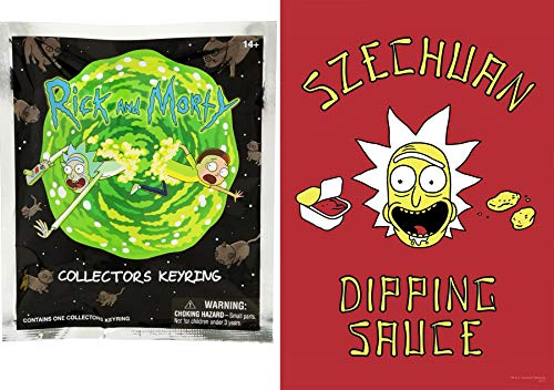 Dipping 3D Mini Figure Rick & Morty Character Pack Pocket Series Hanger Funko Key Ring Bundled with + Rigid Wall Hanging Poster Art Sauce Szechuan Image Pack