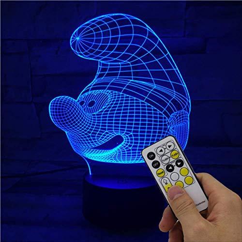 3d illusion nachtlicht Schlumpf Smart 7 Farben LED Tischleuchte Kindergeburtstag, Weihnachten, Valentinstag Geschenk Fernbedienung 7 Farben