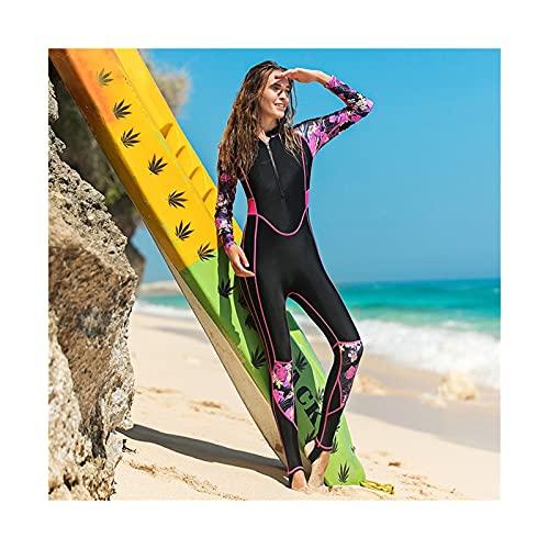 Trajes de buceo, traje de baño atlético con cremallera para mujer, manga larga, traje de baño para mujer, traje de surf, chaleco de erupción (color rojo rosa, tamaño: M)