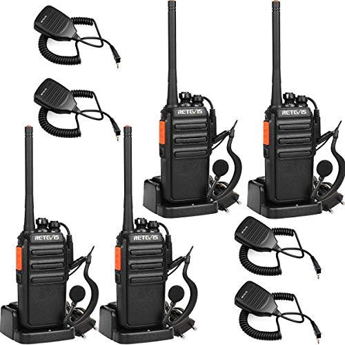 Retevis RT24 Portofoons met Headset en Microfoon PMR446 Vergunningsvrije 16 Kanalen CTCSS/DCS VOX Oplaadbare Walkie Talkies met EU-stekker Laadstation (4 Stuks, Zwart)