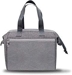 professional Insulated Lunch Bag Wide Open Insulated Lunch Bag Women's Lunch Bag Men's (Gray)