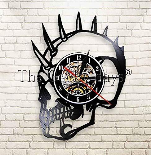 RTYRT Vinyluhr 30CM Mohawk Mohican Skull Wanduhr Punk Skull Vinyl Schallplattenuhr Schädelkopf Pop Art Dekorative Grammophon Schallplattenuhr