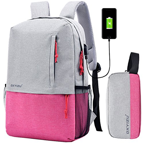 Sac à dos et trousse en nylon unisexes par Super moderne - Port de charge USB inclus - Pour ordinateur portable de 14 pouces - Pour adolescents et adolescentes Large rose
