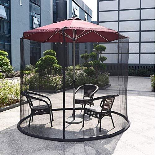 2021新しいパラソルガゼボ傘ガゼボ屋外ガーデンモスキートカバー、シングルドアにあなたのパラソル-9-10FT傘とパラソルのパティオテーブルに適合