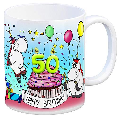 trendaffe - Honeycorns Tasse zum 50. Geburtstag mit Muffin und Einhorn Party