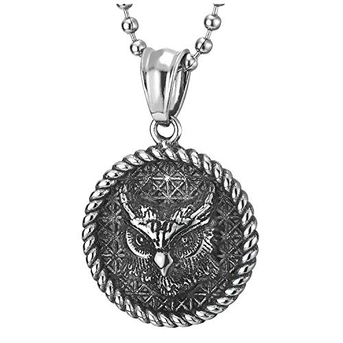 COOLSTEELANDBEYOND Vintage Búho Círculo Medalla Colgante convGuirnalda y Patrón de Cuadros, Collar...