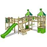 FATMOOSE Parque infantil de madera FunnyFortress Free XXL Torre para trepar Torre de aventuras...