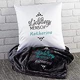 Geschenkset-Lieblingsmensch (grau, mit Name): Kuscheldecke und Kissen Set mit Wunschname Bestickt -...