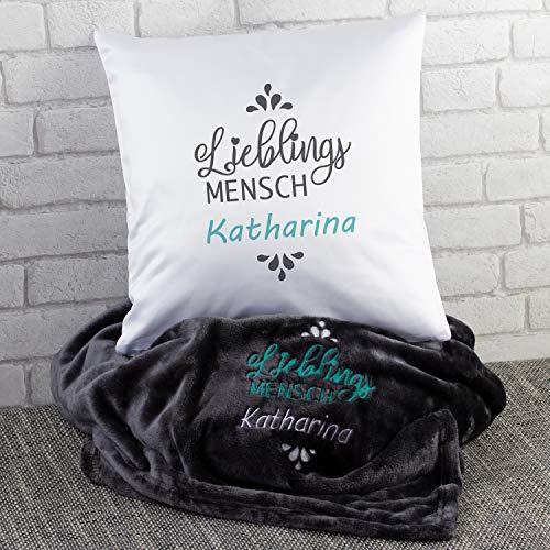 Geschenkset-Lieblingsmensch (grau, mit Name): Kuscheldecke und Kissen Set mit Wunschname Bestickt - Mikrofaser Decke in 180 x 220 und Kuschelkissen/Zierkissen - Geschenkidee für Frauen