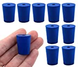 10PK Neoprene Stoppers, 1 Hole - ASTM - Size: #2-16mm Bottom, 20mm Top, 25mm Length - Suitable for use with Petroleum, Oils & Most Inorganic Acids and Bases - Eisco Labs