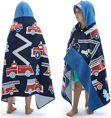 Beach Bath Towel with Hood for Kids Toddlers Boys Girls 2 to 7 Years ,Oversize Extra Size 50
