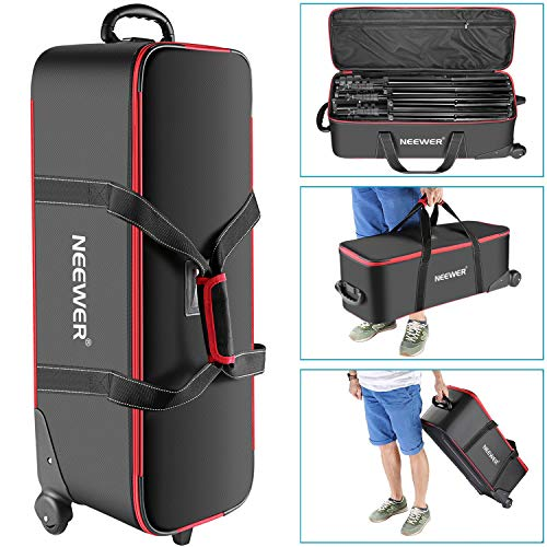 Neewer Photo Studio Equipment Trolley Carry Bag 30'x11'x11'/77x28x27cm with Straps Padded Compartment Wheel, Handle for Light Stand, Tripod, Strobe Light, Umbrella, Photo Studio and Other Accessories