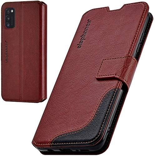 elephones Handyhülle für Samsung Galaxy A41 Hülle mit TÜV geprüftem RFID-Schutz aus Premium PU Leder Flip-Hülle Handy-Tasche Schutz-Hülle Kompatibel mit Samsung Galaxy A41 Braun