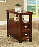 Cherry finish wood rectangular top chair side end table with two pull out drawers and lower shelf