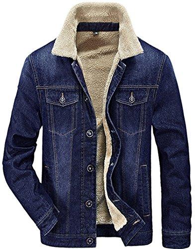 Minetom Hombre Otoño Invierno Clásico Jean Chaqueta De Vaquero Manga Larga Además De Terciopelo Abrigo Cálido Denim Jacket Outwear