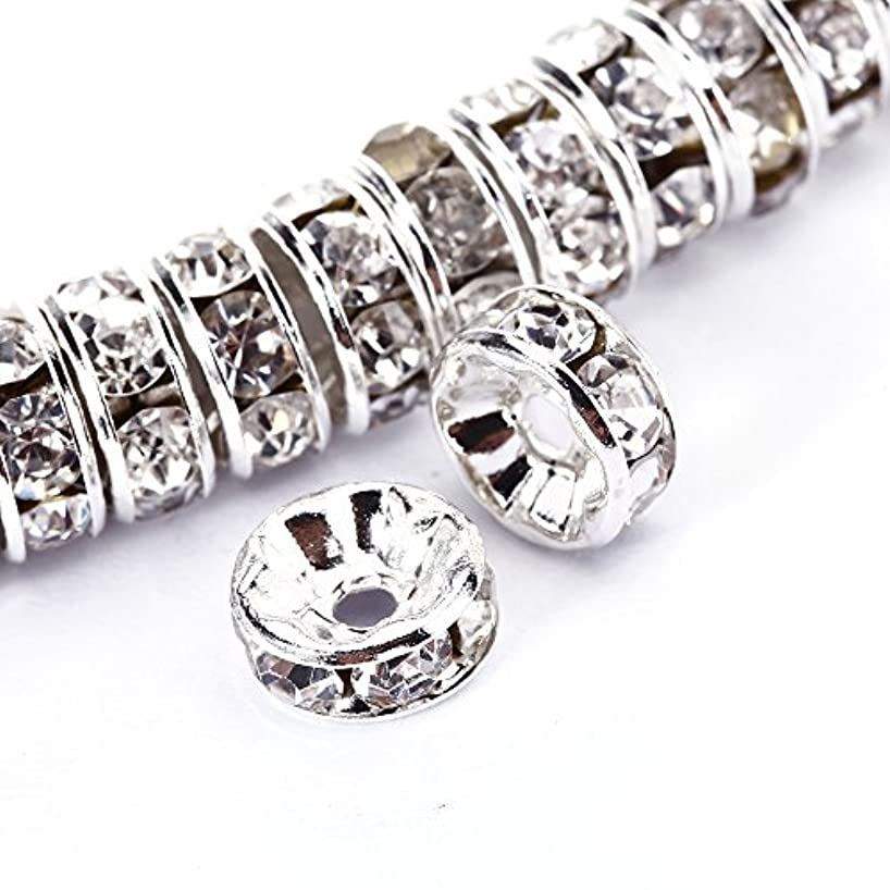 BRCbeads 8mm Silver Plated Crystal Rondelle Spacer Beads 50pcs per bag for jewelery making(#001 Clear Crystal)