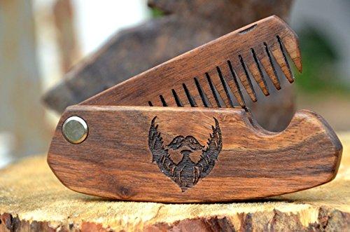 Wooden Hair Comb Folding Man Grooming kit Beard Hair Brush Anniversary Gift for Husband Moustache Walnut